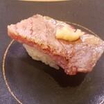 かっぱ寿司 - 最初はまあ旨い200kg級本マグロ大トロ炙り山わさび乗せ