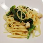 レストラン オネット - 小柱と菜の花、からすみのオリーブオイルパスタ