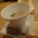和酒の店 杉玉 - 蒼空の酒粕を使ったスープ、お通しです。