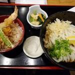 讃岐麺処 か川 - ぶっかけうどん、ミニ天丼ランチ(税込850円)
