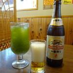 福六十  - ドリンク写真:狭山茶コーラ&中ビン