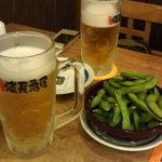 13053718 - 生ビール(中)とお通しの枝豆