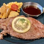 肉が旨いカフェ NICK STOCK - サーロインステーキ(セットで1,580円)