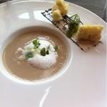 イグレック ベガ - おすすめランチ  神戸  3300円  デザートなし  フランス産マッシュルームスープ  イベリコパンチェッタのベニエ添え