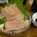 大衆イタリアンかね子 - タン刺し(ワイン醤油で食す)