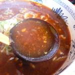 うちの駅 桃園 - 坦々麺のスープはこんな感じ
