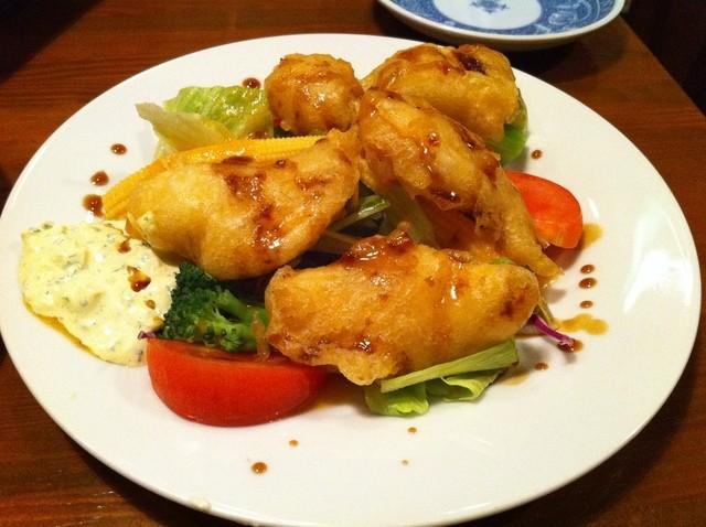 吉良亭 - スズキのフリッターサラダ 500円