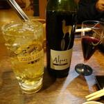 焼肉 縁 - ホワイトホースハイボール (嫁)■ 赤ワイン(アルパカ) (私)