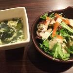 Big-Pig - ランチのサラダとスープ スープはおかわり自由です。