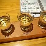 湖穂里 - きき酒セット!全部同じ色に見えますが結構個性有ります。どれも飲みやすい。