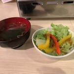 Fukushigehorumon - お汁&サラダ..・ヾ(  ๑´д`๑)ツ