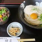 手打ちうどん 団平 - 料理写真:山かけ生醤油うどんとミニ牛めしセット