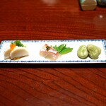 石ばし - 山口県宇部産の 蒲鉾、イクラのせ、鯛の昆布〆 山椒のせ、空豆