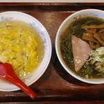 珍々飯店 - ラーメンセット(天津丼&ほうれん草麺)