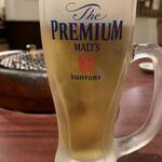 炭火焼肉 くろべこ - ドリンク写真:生ビール(プレミアムモルツ)