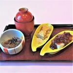 四季茶寮えど - 【ところてん・くず餅セット(梅昆布茶付き)】季節により変わる和菓子とお好みのお飲み物(コーヒー・紅茶・おうす)をセットにいたしました。