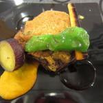 レストラン アキュイ - 牛フィレ肉のグラタン仕立て 野菜少し食べちゃった(T_T)
