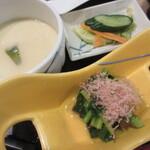 湯田 - 菜の花のおひたし、茶わん蒸し、浅漬け