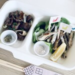 teppan仁六 - 【おつまみ2種】砂肝黒胡椒焼き&瀬戸内小いわし鉄板天ぷら