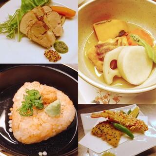 個人盛りのコース料理。気遣いなく旬の料理をお楽しみ頂けます。