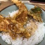 豊野丼 - 鰯天丼 丼は南瓜・生姜・ブロッコリー