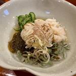 お料理ひろ岡 - 優しい酢の物は貝柱に蟹に生のジュンサイも(´⊙ω⊙`)