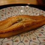130846127 - 子安江戸前炙り煮穴子銀餡掛け 焼き茄子(久世茄子)