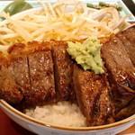 竹之里 - ボリュームのあるステーキ丼(アップ)