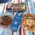 ラ・セーラ - 上は合鴨の黒胡椒スモーク680円、右はラザーニャ1,000円、左はトリッパと4種豆のトマトソース煮1,000円
