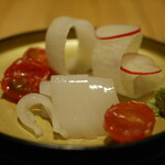 橙 - 赤イカ刺身