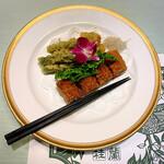 130917705 - 湯葉春巻に野菜と魚の天婦羅が供されました(o^^o)