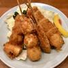 串揚げ 珍串 - 料理写真:生ビールセットの揚げ物(串4本)