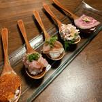 肉と魚の寿司 yokaichi - 一口スプーン寿司