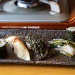 八ヶ岳小僧 - 2020.5 山菜寿司(ウド細巻き、タケノコ握り、ハンゴンソウ握り、行者ニンニク握り、ワラビ細巻き)