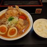 辛口肉ソバ ひるドラ - ①辛口肉ソバ味噌&味玉&カラアゲ + 白ご飯(小)