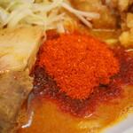 辛口肉ソバ ひるドラ - ①辛口肉ソバ味噌(レベル2:オリジナルひるドラパウダー)