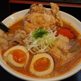 辛口肉ソバ ひるドラ - 料理写真:①辛口肉ソバ味噌&味玉&カラアゲ