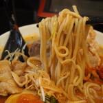 辛口肉ソバ ひるドラ - ①辛口肉ソバ味噌(麺)