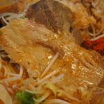 辛口肉ソバ ひるドラ - ①辛口肉ソバ味噌(厚切バラチャーシュー)