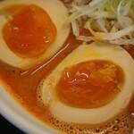 辛口肉ソバ ひるドラ - ①辛口肉ソバ味噌(味玉)