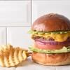 MEIHOKU Burger - 料理写真:アボカドチーズバーガー、ワッフルポテトフライセット