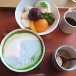 茶房 贔 - 白玉クリームあんみつ・抹茶ラテ