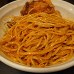辛口肉ソバ ひるドラ - ③辛口肉まぜソバ味噌(麺をしっかりと混ぜる)