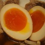 辛口肉ソバ ひるドラ - ⑤冷やし辛口冷しゃぶ肉そば(味玉)