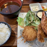 匠海 - 国産ヘレカツ手包み海老フライ定食   980円(税抜)