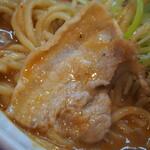 辛口炙り肉ソバ ひるドラ - 辛口炙り肉ソバ味噌(薄切り豚バラ)