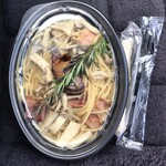 トスカーナ - フォアグラのポワレと 森のキノコのスパゲティ バター醤油仕立て    ¥1.390(税込)