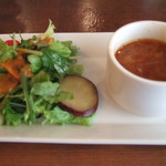 13108760 - 前菜のサラダとスープ