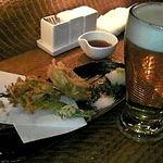 地鶏Bar 十三夜 - ズワイガニとユリネのかき揚げ