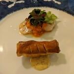 Yokohamamotomachimutekirou - 帆立貝の網焼き ラタトゥイユ風ソース、ツブ貝の小さなパイ包み焼き 粒マスタード風味